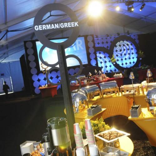 International tent event buffet decorations
