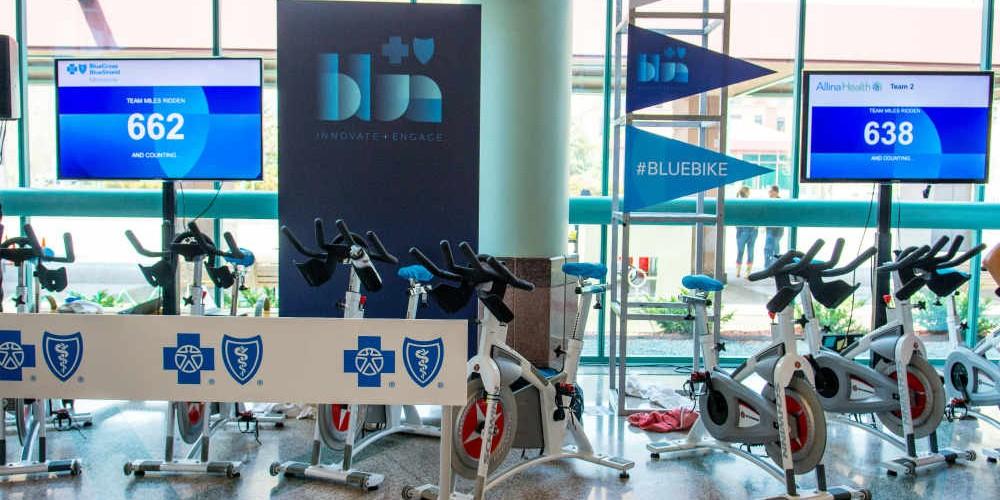 Medical conference stationary bike demonstration