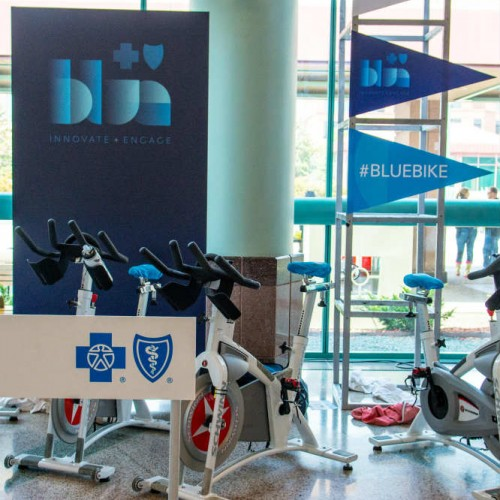 Stationary bikes at medical conference