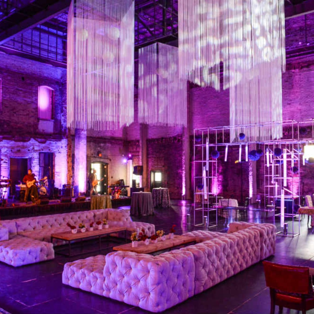 Jazz club decor - couches and lighting