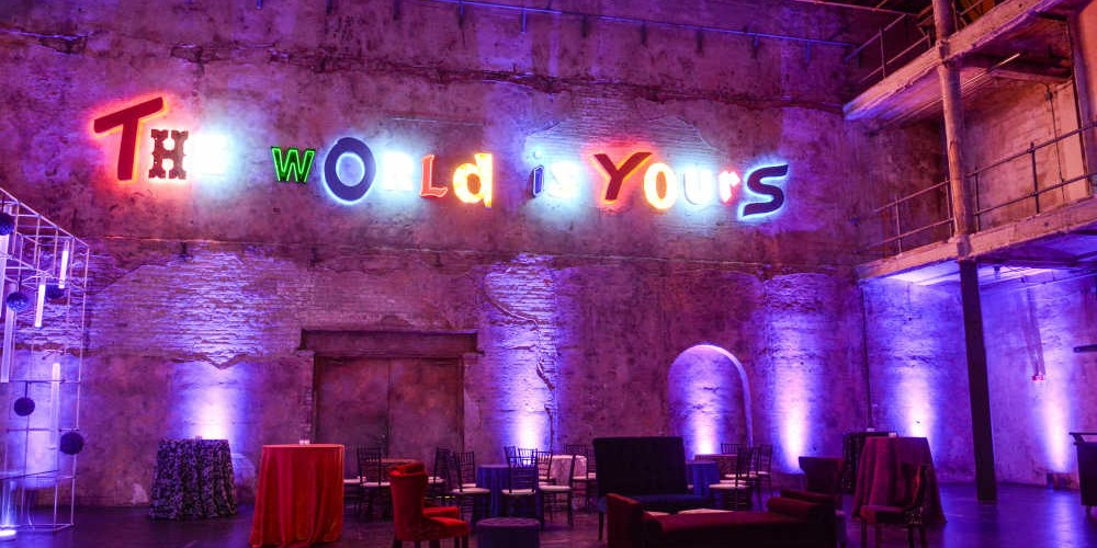 Jazz club decor with blue lighting