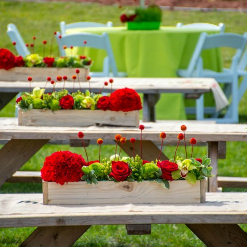 Picnic table centerpiece decor