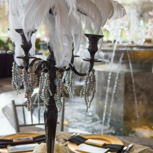 Casey Gatsby wedding feather centerpiece