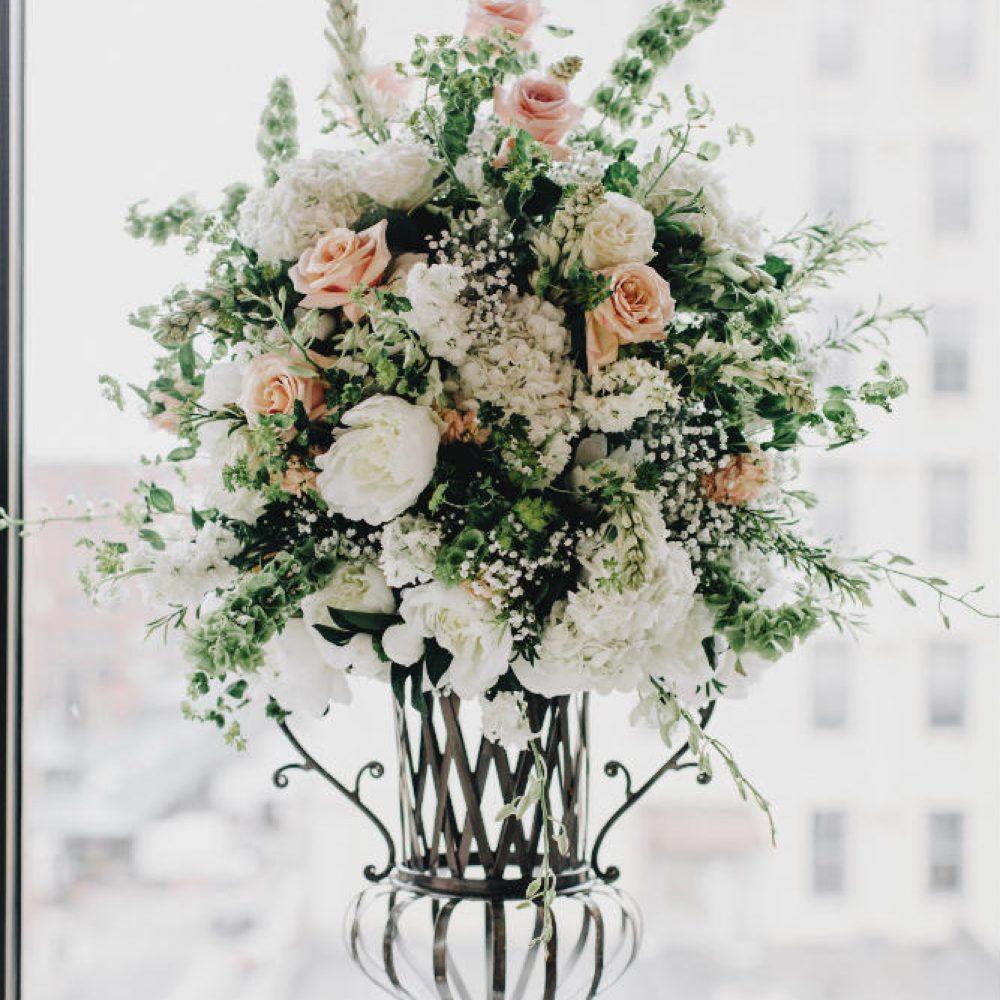 van beck iron vase floral