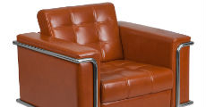 Cognac Leather & Chrome Chair