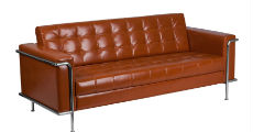Cognac Leather & Chrome Sofa