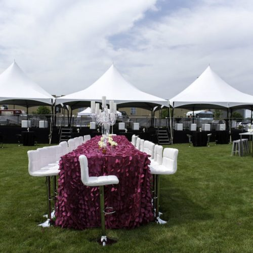 Upsher Casino purple table and tents
