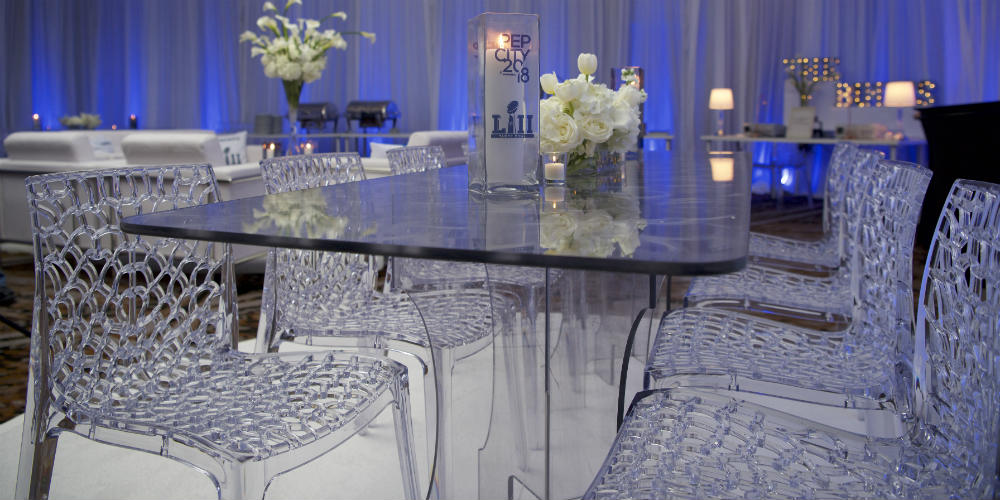 Events Forum Pepsi Ice ghost chairs table 1000 x 500