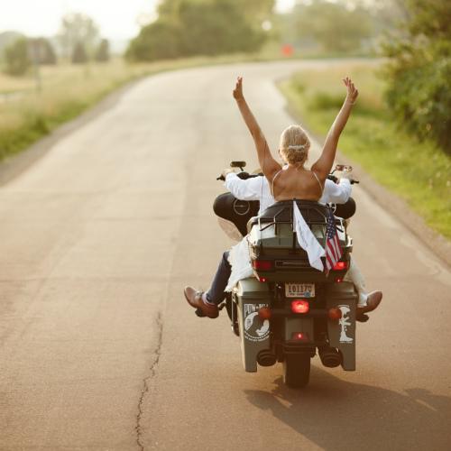 Daniels Wedding Bride on bike 500 x 500