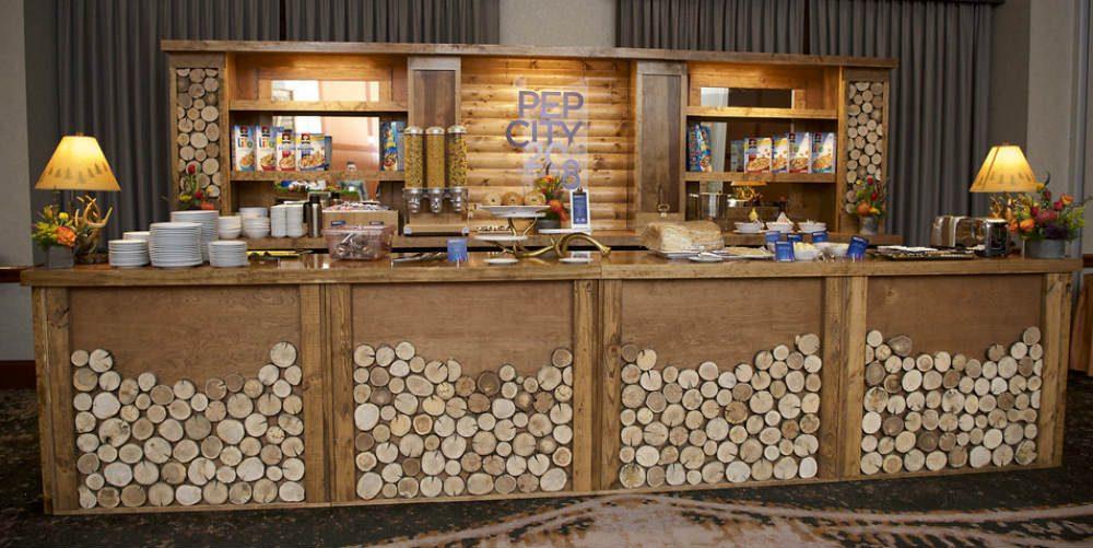 Lodge-themed custom bar
