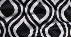 Black groovy print table linens