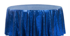 Royal blue sequin table linens