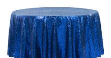 Royal blue sequin table linens