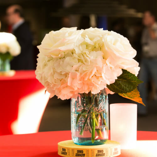 Floral centerpiece at state fair party