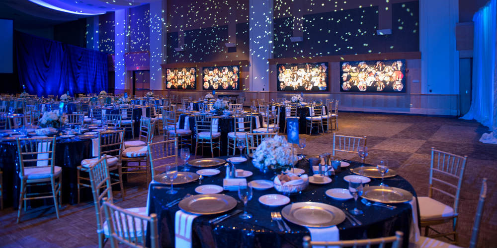 Blue tables and chiavari chairs