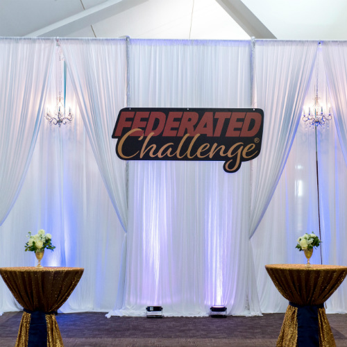Federated Challenge sign and cocktail tables