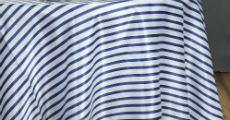 small navy and white stripe table linens