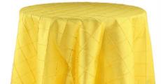 yellow pintuck table linens
