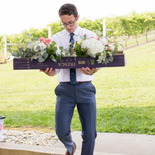 Barn Wedding Flower Arrival
