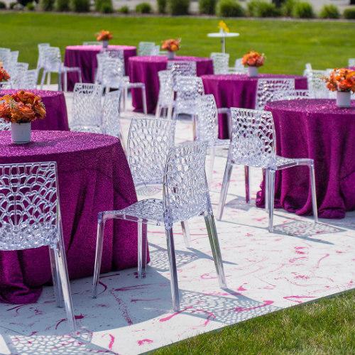 tables on splatter floor