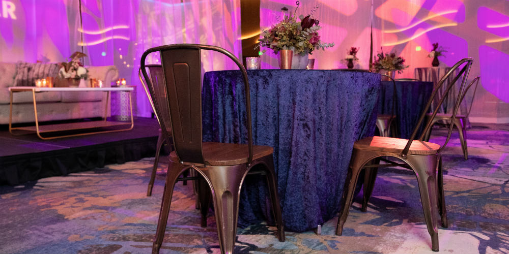 BATC Navy Table and Wood Chairs